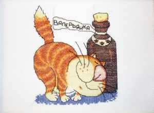 Рисунок кота с валерьянкой